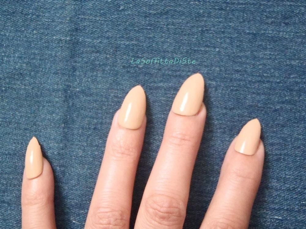nude stiletto fake nails almond glossy halloween false nails