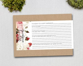 Tips for the Newlyweds, Marriage Advice Card, Wedding Cards, Floral