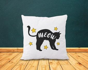 Cat pillow cover-meow pillow-gift for cat lovers-cat decor-home decor-decorative pillow-Christmas gift-black cat pillow-NATURA PICTA-NPCP069
