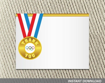 Thank you card - Go For the Gold-Olympic-Red White Blue - Medal - Summer -Games- Happy Birthday - Instant Download - DIY Digital Decorations