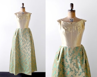 1960 brocade gown. 60's metallic gold dress. green floral. s. formal.