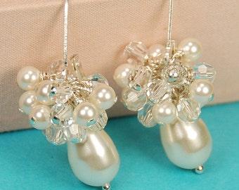 Pearl Bridal Earring, Elegant Pearl Earring, Ivory Pearl & Clear Crystal Earring, Wedding Dangle Earring, Swarovski in Sterling Silver