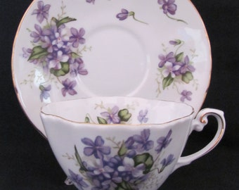 Spring Violets Cup Saucer Scalloped Foot Japan Rossetti Chicago