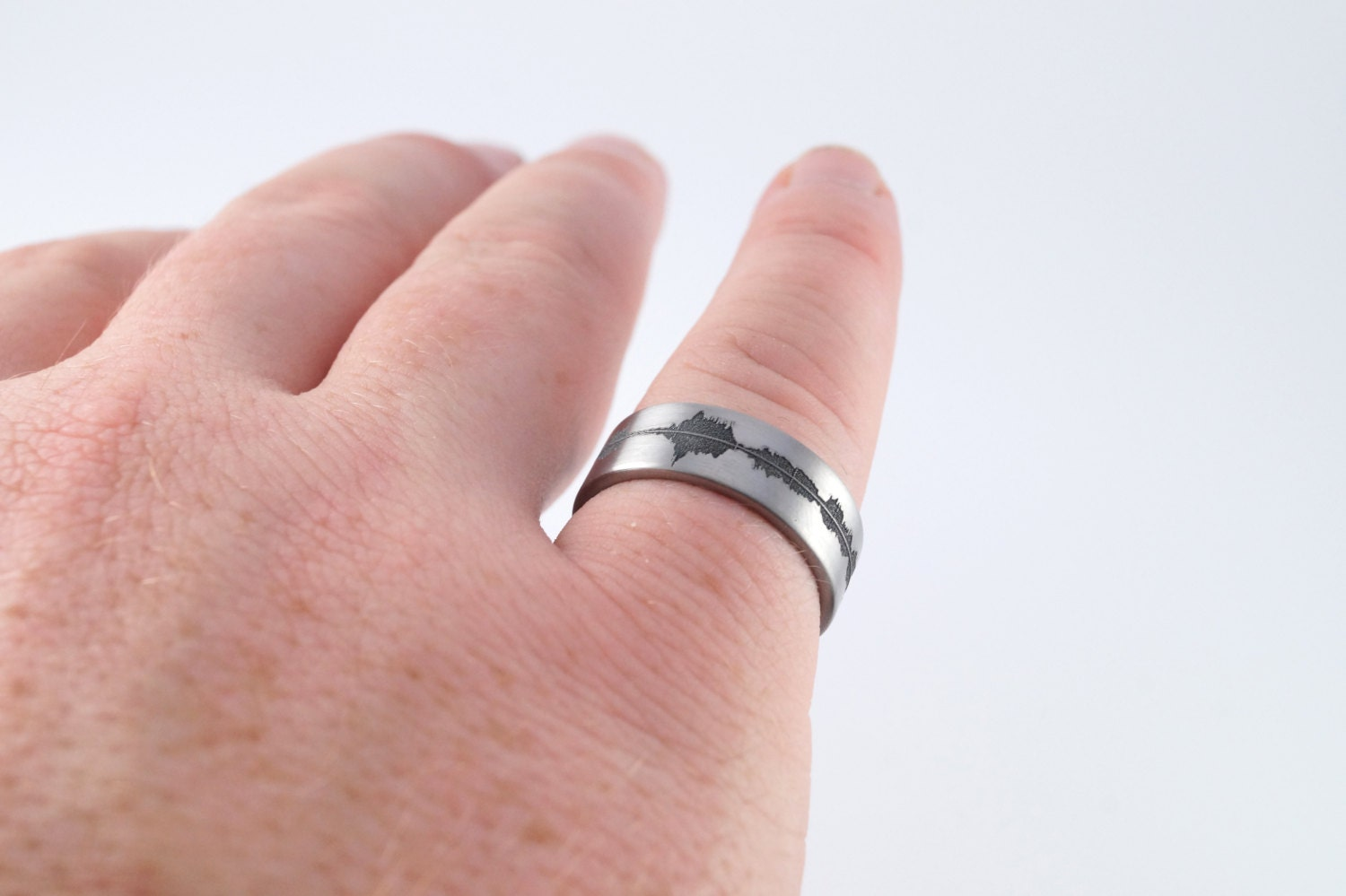 Custom Titanium Soundwave Ring - Geek Wedding Band for him ...
