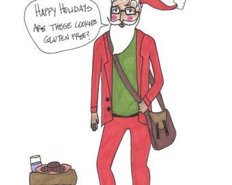 Hipster Santa Holiday Christmas Card Original Art