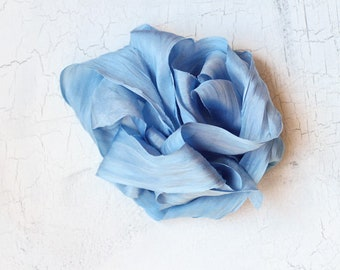 Dusty Blue Silk Ribbon, Bride Silk Ribbon, Hand-dyed silk ribbon, Plant Dyed Silk Ribbon, Wedding Bouquet, Blue Silk Ribbon, Hand-dyed Silk