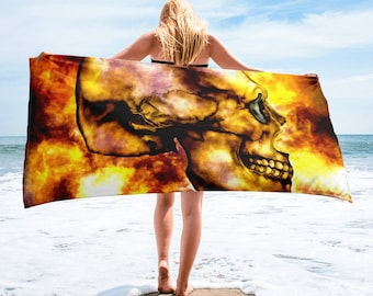 Towel flaming skull