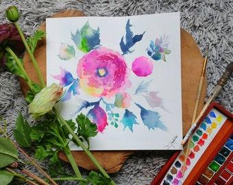 Original colorful abstract flowers watercolor painting - Bouquet de fleurs abstraites en tableau aquarelle