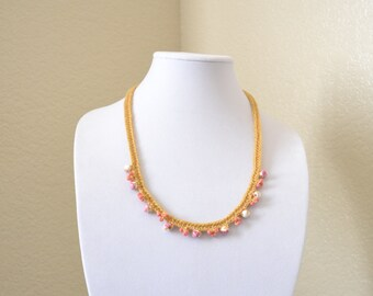 Beige and rose crochet statement necklace