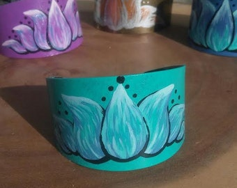 Hand Painted Turquoise Lotus Flower Metal Bracelet Cuff