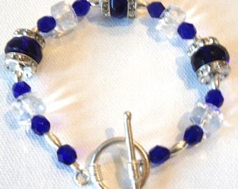 Ooh La La!,Swarovski Crystal,Czech Crystal,Blue,White,Bracelet,Sterling Silver,Toggle Closure,Gift for Her,Gift Idea,Rondelles,Elegant