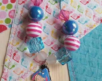 "18"" Eeyore Pendant Chunky Bubblegum Bead Necklace *Ready to Ship* Photo Prop, Crayons"