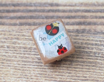 Ladybug Art Collage Scrabble Pin, Handmade Scrabble Tile Art Brooch, Insect Wood Brooch, Spring Pin, Tiny Bug Jewelry, be HAPPY, Bug Lover