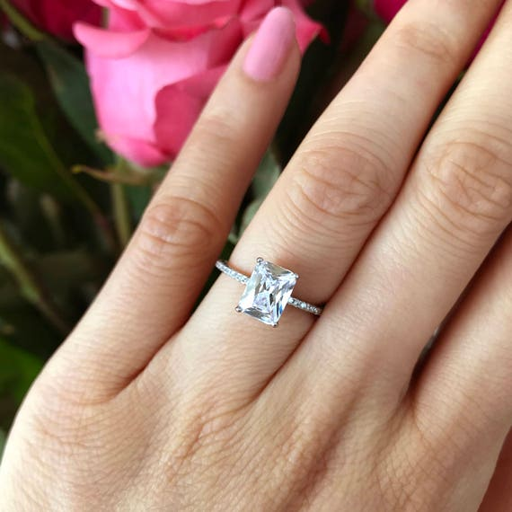 2 Ctw Radiant Cut Accented Solitaire Ring Radiant Engagement