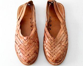 vintage huaraches sandals, woven leather slides, women's size 8.5