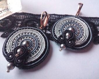 Soutache earrings, grey soutache earrings, soutache jewelry