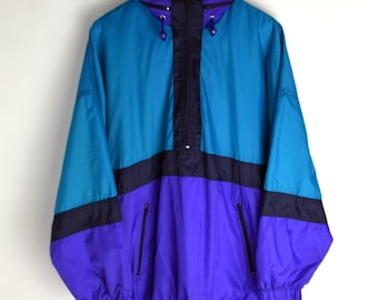 Windbreaker vintage Lucciano Men L 90s windbreaker Vintage Windbreaker Raincoat Parka Colorful Windbreaker Vintage jacket 90s jacket Anorak