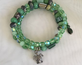 Turtle love memory wire bracelet