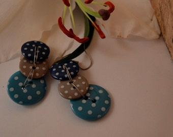 Blue & Brown Button Earrings