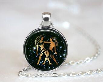 Gemini Pendant, Zodiac Jewelry, Gemini Necklace, Gemini Jewelry, Astrological Sign, Astrology