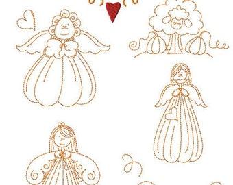 Instant Digital Download Set of 20 Pumpkin Angels & Sheep 5X7 Linework Machine Embroidery Designs