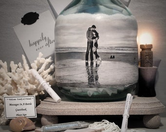 Personalized Guestbook Alternative, Messages In a Bottle Guestbook, Hand Painted Bottle With Your Photo, Beverage Decanter, Engagement Gift