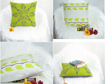 Cushion / Throw Pillow covers Applique. 16 x 16 inches.green white,grey details pillow case.India home decor