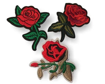 3 charming rose iron on patches, MIX