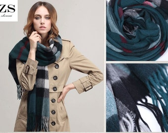 100% Pure Wool Large Size High Quality Thick Fashionable Checker Shawl Wrap Throw Scarf Women Men