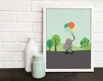 elephant nursery art print,  animal nursery art, kids room decor, nursery decor, bicycle art, balloons art, baby decor, kids print