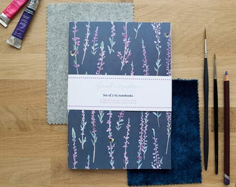 A5 Notebooks set of 2 | Grey Heather | Grey and Pink | Lined Pages | Recycled Paper | Designed in Yorkshire | Made in the UK