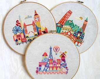 London, Paris, Italy - 3 Satsuma Street modern cross stitch patterns - 18 Dollars USD- Instant Download