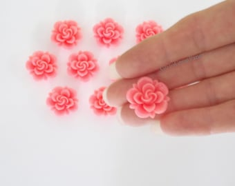 12 Cabs 19mm Pink Resin Roses, Flatback Flower Cabochon, bright deep pink, vintage style jewelry supplies, 19 mm Pink Rose Cab Classic Rose