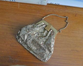 1930s Whiting & Davis gold mesh purse • 30's art deco petite purse