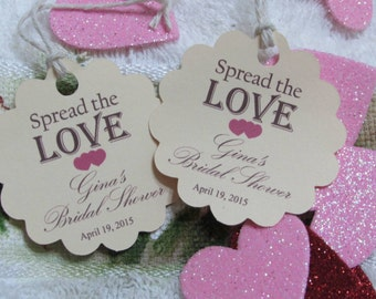 Personalized Spread the Love Favor Tags 2'', Wedding tags, Thank You tags, Favor tags, Gift tags, Bridal Shower Favor Tags,