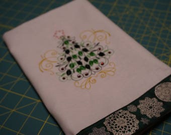 Festive Decorative Holiday Kitchen Towel with Embroidered Christmas Tree - Handmade