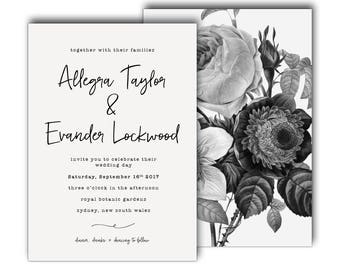 Simple Black and White Script Wedding Invitation, Wedding Invite, Classic, Simple, Black and White, Elegant, Affordable, Minimal (Snow)