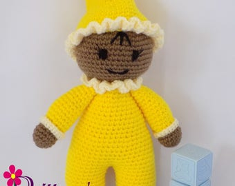 Baby Girl Doll  Crochet Baby Girl Doll  My First Doll  Stuffed Baby Girl Yellow Doll  Plush Yellow Baby Girl Doll  Crochet Doll