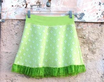 Fleur de Lime MINISKIRT from vintage fabric - Sm Med Large XL white green skirt polka dot girl teen womens skirt absinthe neon clothing eco