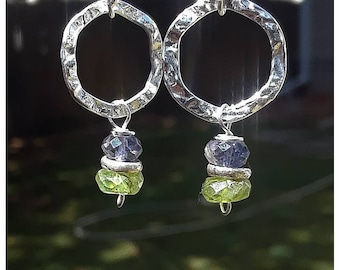 Iolite, Peridot, and Hill Tribe Silver Sterling Silver dangle earrings. Faceted stones. Flashy, but simple. ShawnDody Designs.