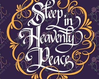 Sleep in Heavenly Peace, Christmas Vinyl Sign   SVG, DXF, PNG, Eps, Vector files for Silhouette, Cricut, Cutting Machines, Commercial Use