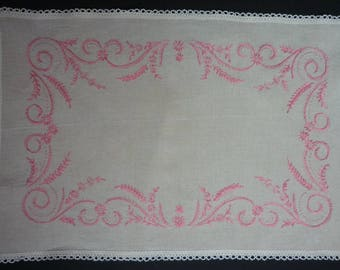 Old table mat Made in France bordered by hand
