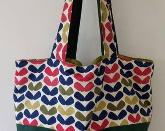 TOTE BAG handmade fabric shoulder bag reversible