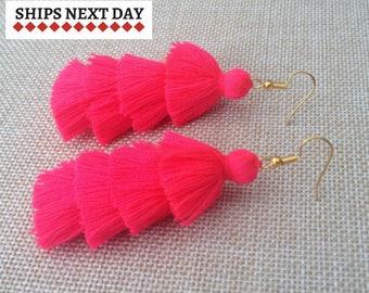 Watermelon Earrings, Red Tassel Earrings, Boho Earrings, Colorful Holiday Earrings, Bohemian Earrings, Festival Jewelry, Party Earrings