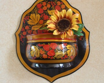 Hand painted wooden flower basket