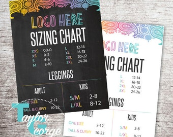 Leggings Size Chart - Clothing Size Chart - Fashion Retailer - Fashion Consultant - Pop Up Boutique - Direct Sales - Size Chart