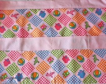 Waist Half Apron Vendor Teacher Nursery Daycare Pink Baby Fabric (8 Pockets)