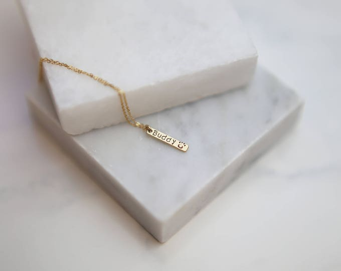 Dog Name Tag Necklace // Personalized Vertical Bar Tags for Kids Name, Pet Name