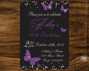 Butterfly birthday invitation, Butterfly invitations, Butterfly birthday invites, Butterfly birthday party,  Purple butterfly invitation
