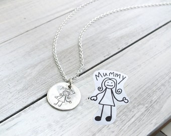 Custom Etched Drawing, Your Child's Drawing Etched In Silver, Personalised Engraved Pendant, Personalised Handwriting Necklace